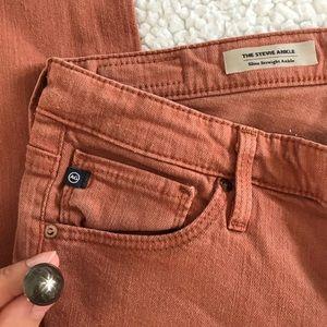 AG Rust Orange Stevie Ankle Jeans